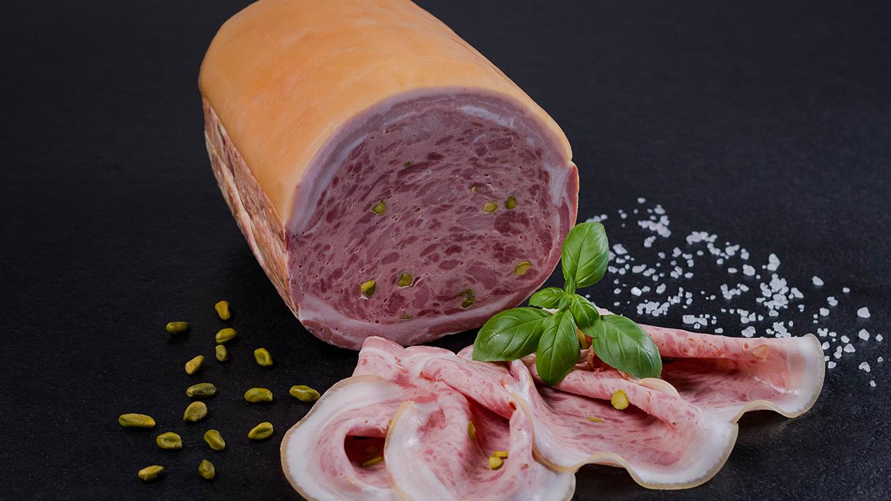 Frischwurstaufschnitt Schweinebauch gefüllt